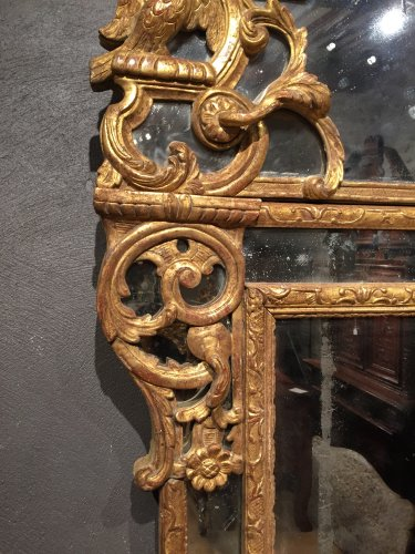 Mirrors, Trumeau  - French Fine Mirror in gilded wood, Regence Period Circa 1720