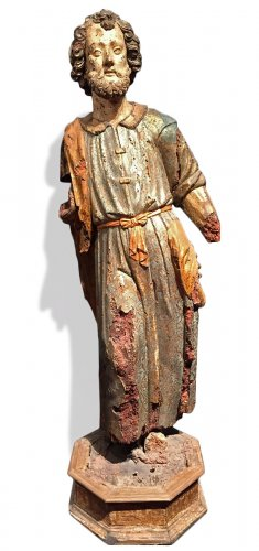 Saint Joseph polychrome and gilt wood, Milan Renaissance period circa 1550