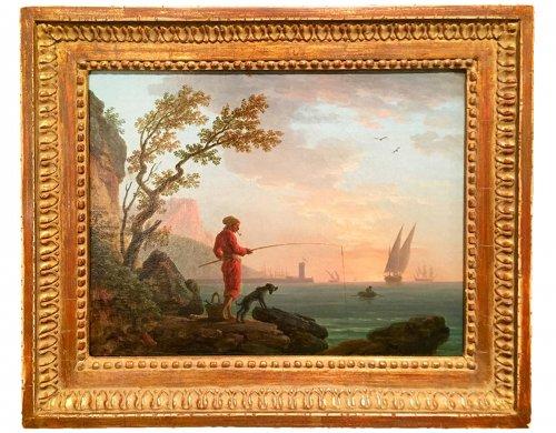 Angler in a Mediterranean port, Louis XVI Provencal school circa 1780