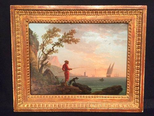 Paintings & Drawings  - Angler in a Mediterranean port, Louis XVI Provencal school circa 1780