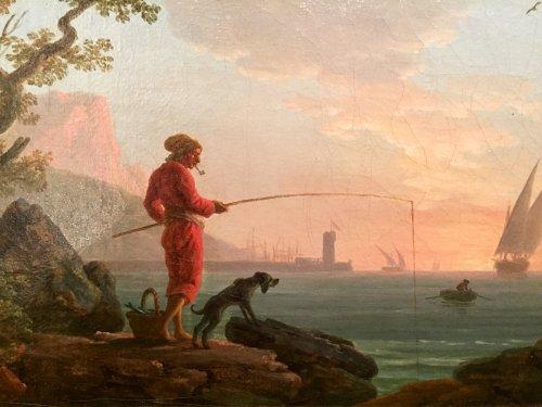 Angler in a Mediterranean port, Louis XVI Provencal school circa 1780 -