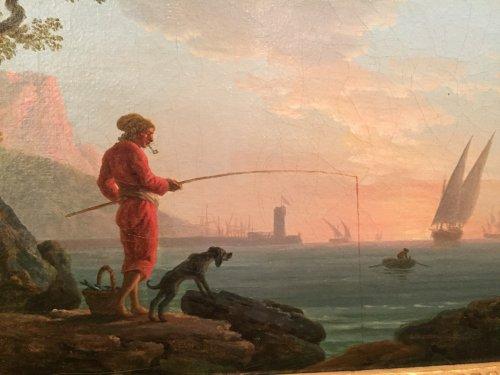 18th century - Angler in a Mediterranean port, Louis XVI Provencal school circa 1780