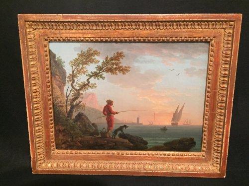 Angler in a Mediterranean port, Louis XVI Provencal school circa 1780 - Louis XVI