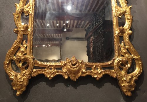 Mirrors, Trumeau  - French giltwood mirror from Provence, Louis XV period circa 1750