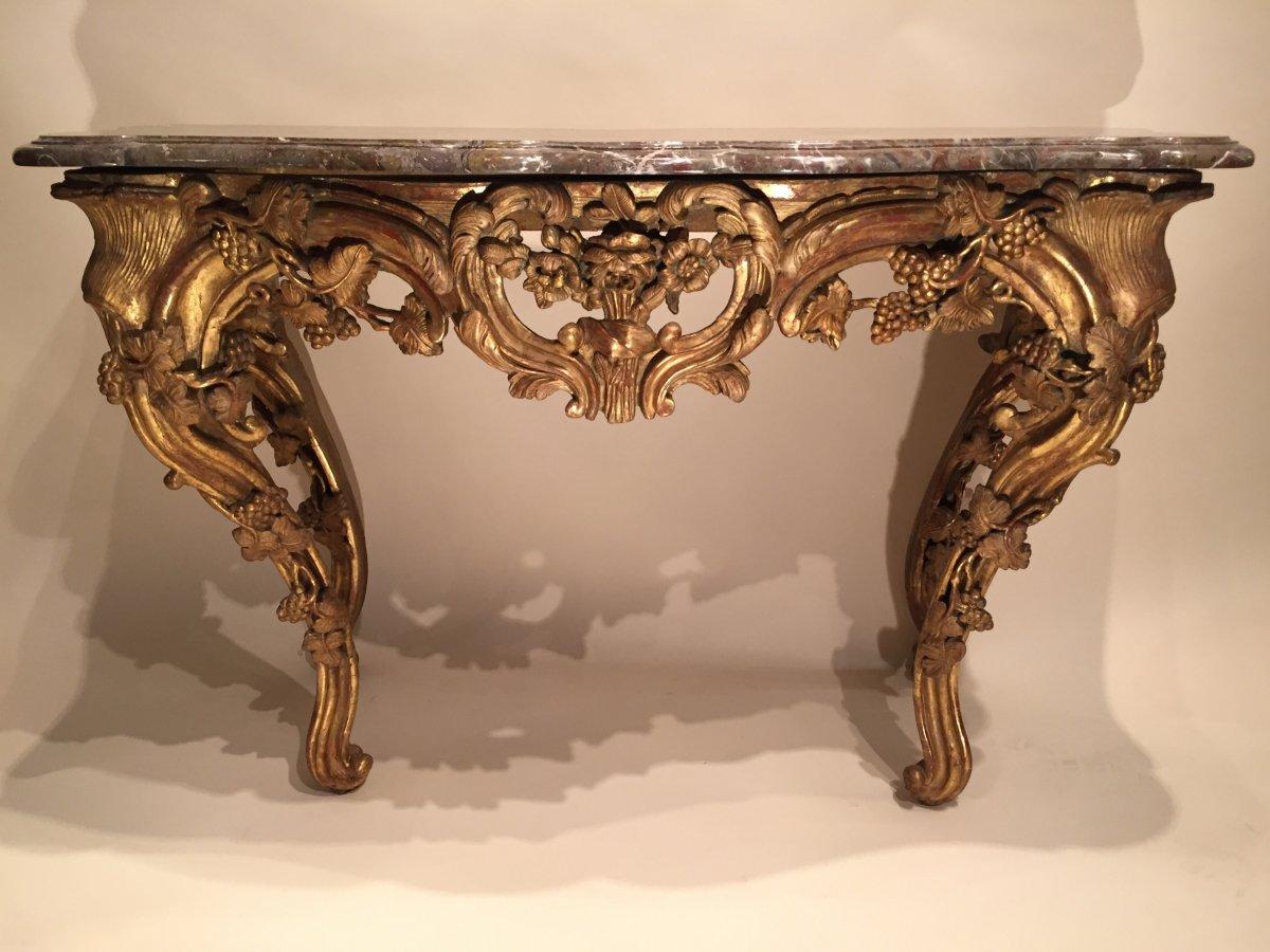 Table en console en bois doré , Provence époque Louis XV vers 1760 ...