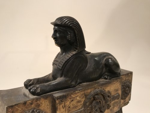 Feux en bronze aux sphinx égyptiens , Paris époque Consulat - Empire