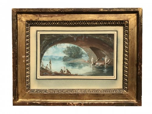 Small gouache signed HR and dated 1786, Louis XVI period