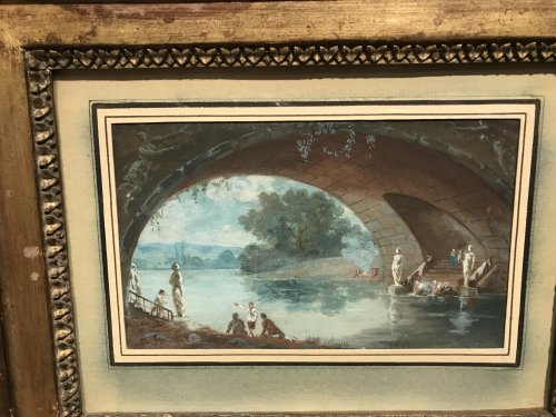 Small gouache signed HR and dated 1786, Louis XVI period - Paintings & Drawings Style Louis XVI