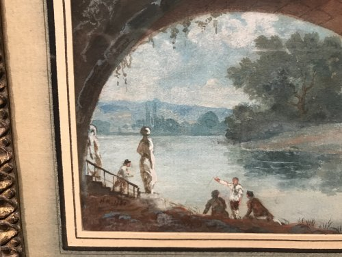 Small gouache signed HR and dated 1786, Louis XVI period -