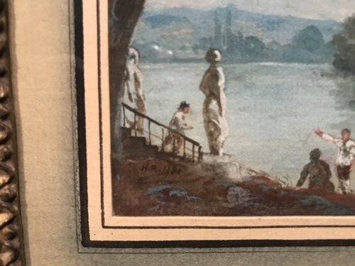 18th century - Small gouache signed HR and dated 1786, Louis XVI period