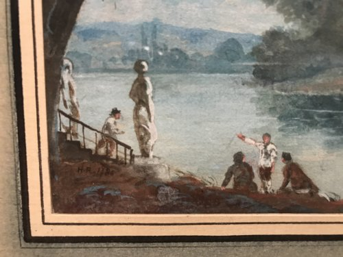 Small gouache signed HR and dated 1786, Louis XVI period - Louis XVI