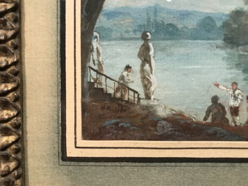 Antiquités - Small gouache signed HR and dated 1786, Louis XVI period