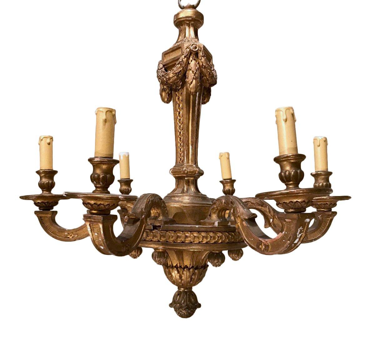 lustre de style n oclassique en bois dor fin du xixe. Black Bedroom Furniture Sets. Home Design Ideas