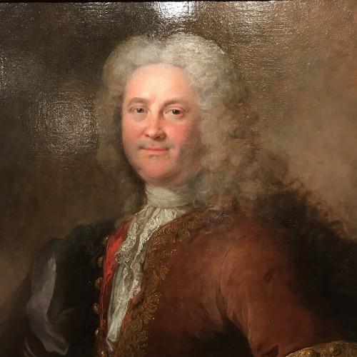 Antiquités - Portrait of a man by Robert Le Vrac said Tournières, Louis XV period