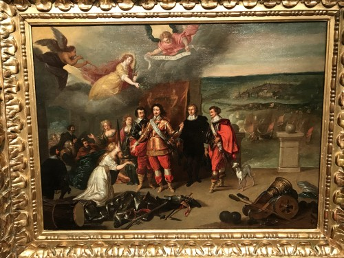 King Louis XIII receiving the keys of La Rochelle - French School circa 1630 - Paintings & Drawings Style Louis XIII