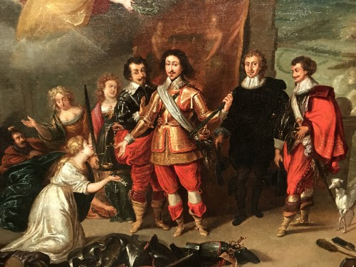 Paintings & Drawings  - King Louis XIII receiving the keys of La Rochelle - French School circa 1630