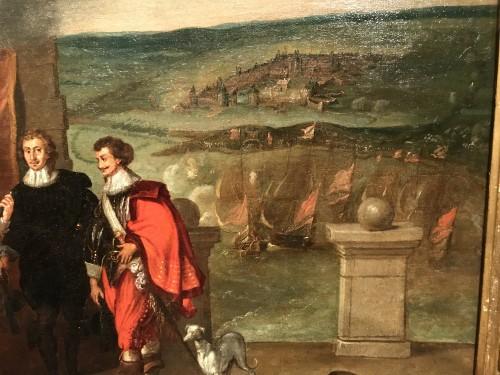 King Louis XIII receiving the keys of La Rochelle - French School circa 1630 - Louis XIII