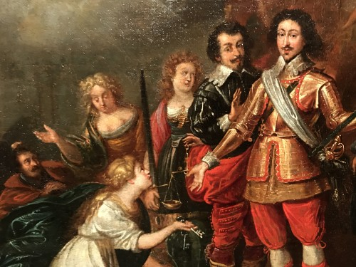 Antiquités - King Louis XIII receiving the keys of La Rochelle - French School circa 1630