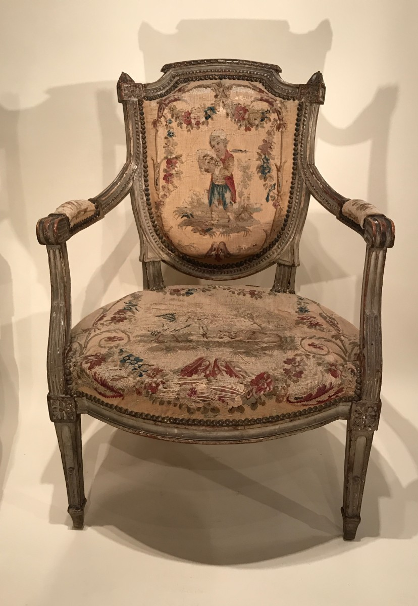 paire de fauteuils estampill s pillot nimes poque louis xvi xviiie si cle. Black Bedroom Furniture Sets. Home Design Ideas