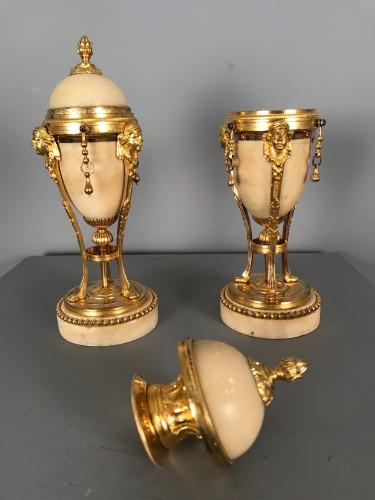 Pair of tripod flambeaux, Paris, Louis XVI period -