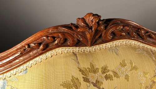 Antiquités - Pair of Louis XV fauteuils (flat-back armchairs) by Mathieu Bauve