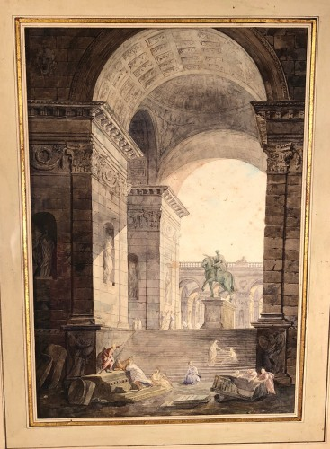The statue of Marc Auréle in Rome, watercolor 1806 - Paintings & Drawings Style Empire