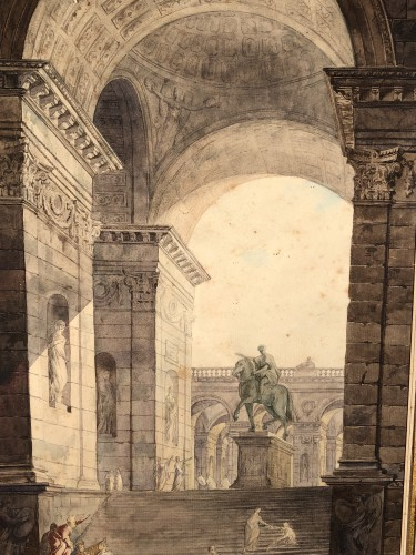 The statue of Marc Auréle in Rome, watercolor 1806 -