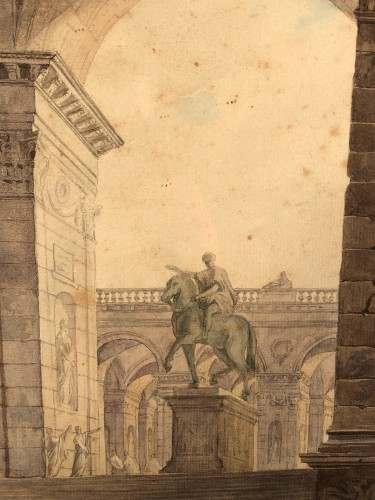 19th century - The statue of Marc Auréle in Rome, watercolor 1806