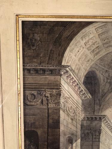 Antiquités - The statue of Marc Auréle in Rome, watercolor 1806