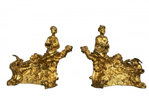 Pair of bronze andirons circa 1850