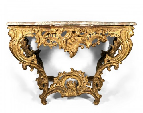 A French Louis XV carved giltwood console table from provence