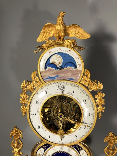 A Fine Astronomical skeleton clock, Paris Revolutionary period - Louis XVI