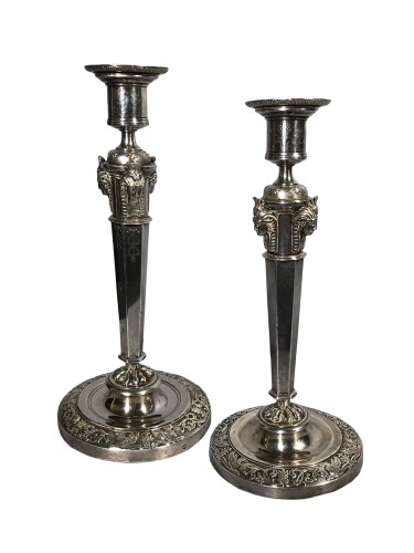Pair of silver candlesticks, Pierre Paraud silversmith of the emperor circa 1805