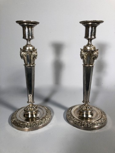 Pair of silver candlesticks, Pierre Paraud silversmith of the emperor circa 1805 -