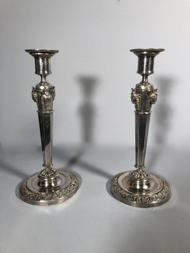 19th century - Pair of silver candlesticks, Pierre Paraud silversmith of the emperor circa 1805