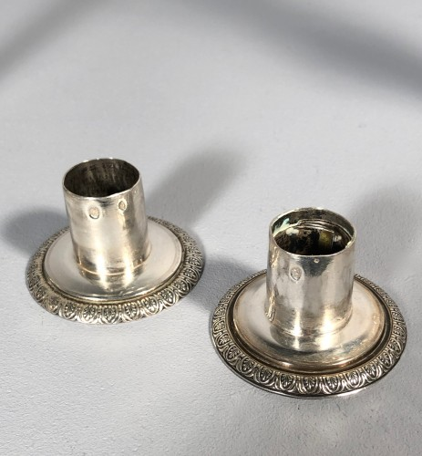 Antiquités - Pair of silver candlesticks, Pierre Paraud silversmith of the emperor circa 1805