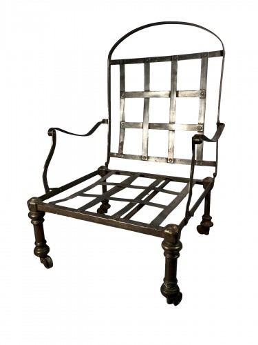 Forged and polished steel officer's armchair, early 19th century