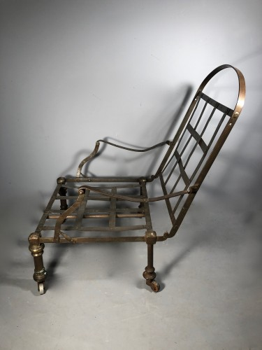Seating  - Forged and polished steel officer's armchair, early 19th century