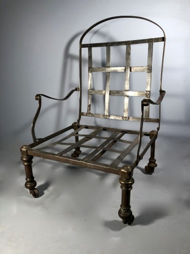 Forged and polished steel officer's armchair, early 19th century -