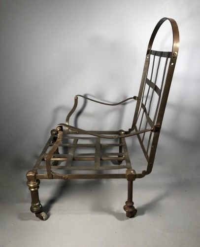 19th century - Forged and polished steel officer's armchair, early 19th century
