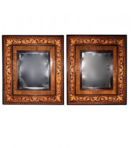 Pair of french marquetry miroir , Thomas Hache circa 1700