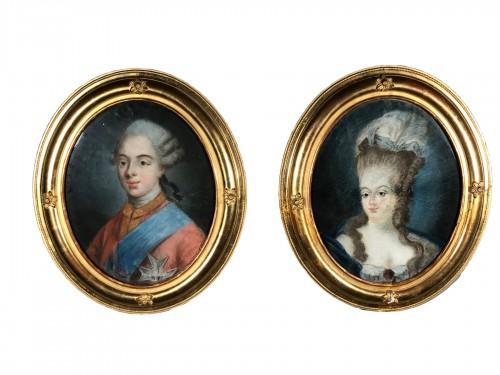Paire de pastels, Comte d'Artois et Marie Thérese de Savoie