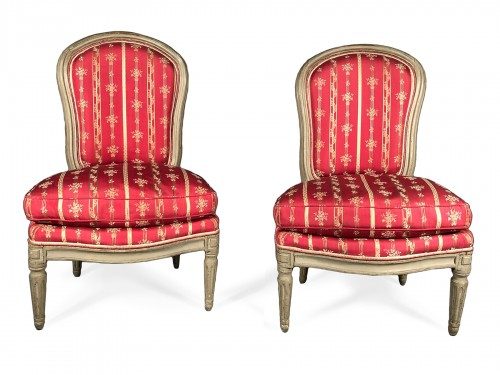 Pair of low fireplace chairs stamped Langlois, Louis XV period circa 1775