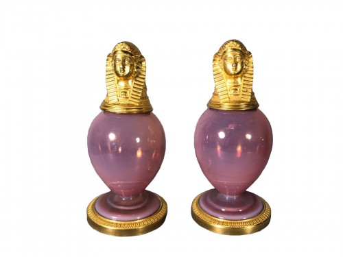 Pair of pink opaline pigeon throat colour canopan bottle, circa 1830