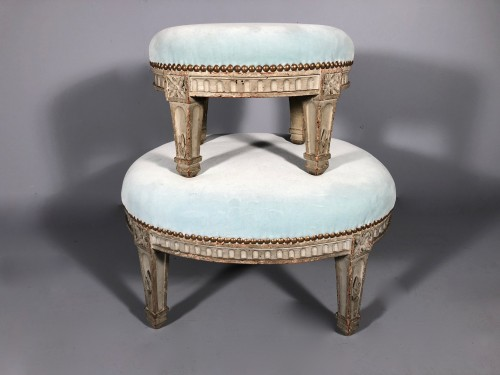 """Pair of """"foot stools"""", Pierre Pillot, Provence circa 1790 - Seating Style Louis XVI"""