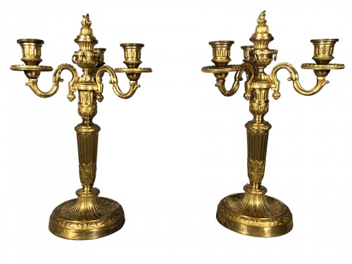 Pair of neo-classical bronze candelabra circa 1780