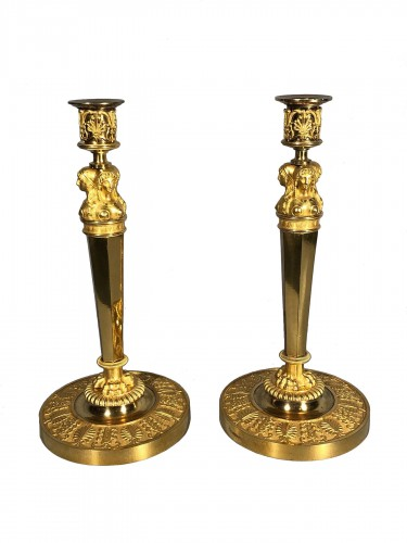 Pair of empire candlesticks by Claude Galle , circa 1810