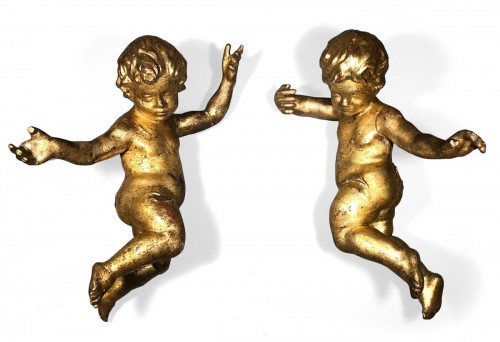 Pair of italian golden wood angels, Florence toscany circa 1700