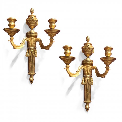 Pair of french ormolu  sconces, after  J.L Prieur vers 1770.