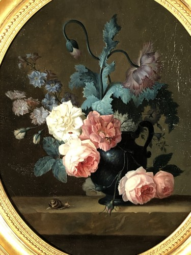 Still life with a bouquet of flowers and insects circa 1820 - Paintings & Drawings Style Restauration - Charles X
